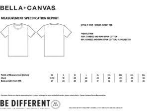 Islastones T-Shirt sizing details